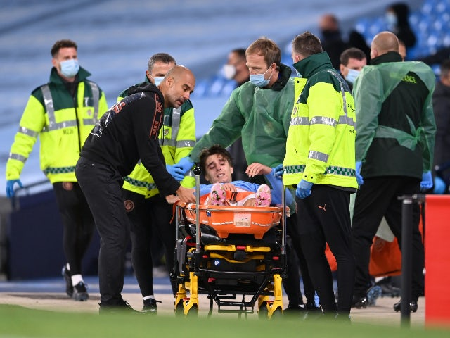Manchester City's Adrian Bernabe goes off injured against Bournemouth in the EFL Cup on September 24, 2020