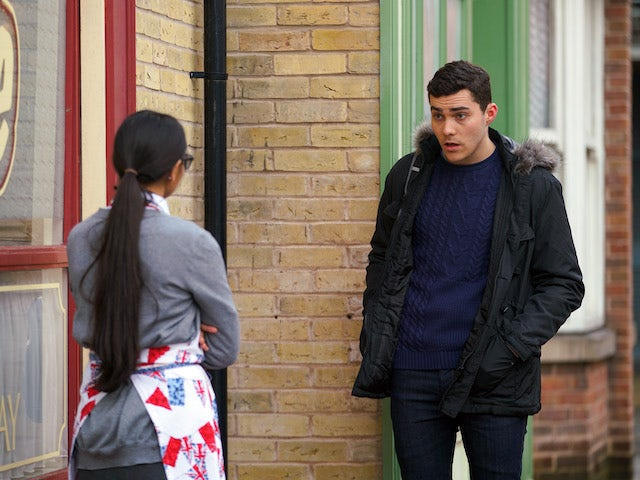 Corey and Asha on the first episode of Coronation Street on February 1, 2021