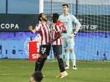 Athletic Bilbao's Raul Garcia celebrates scoring against Real Madrid in the semi-finals of the Spanish Super Cup on January 14, 2021