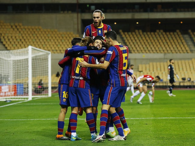 Barcelona's Antoine Griezmann celebrates scoring their second goal with teammates pictured on January 17, 2021