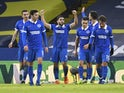 Brighton & Hove Albion players celebrate scoring against Leeds United on January 16, 2021