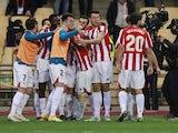 Athletic Bilbao's Inaki Williams celebrates scoring their third goal with teammates on January 17, 2021