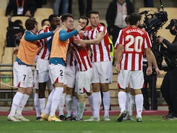 Athletic Bilbao's Inaki Williams celebrates scoring their third goal with teammates on January 17, 2021