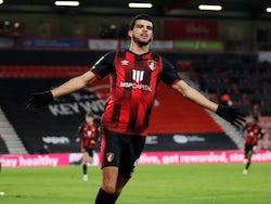 Dominic Solanke celebrates scoring for Bournemouth against Millwall in the Championship on January 12, 2021