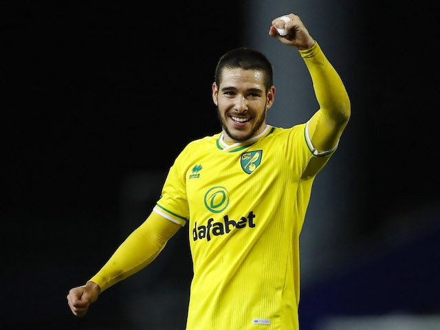 Emi Buendia celebrates scoring for Norwich City on December 12, 2020