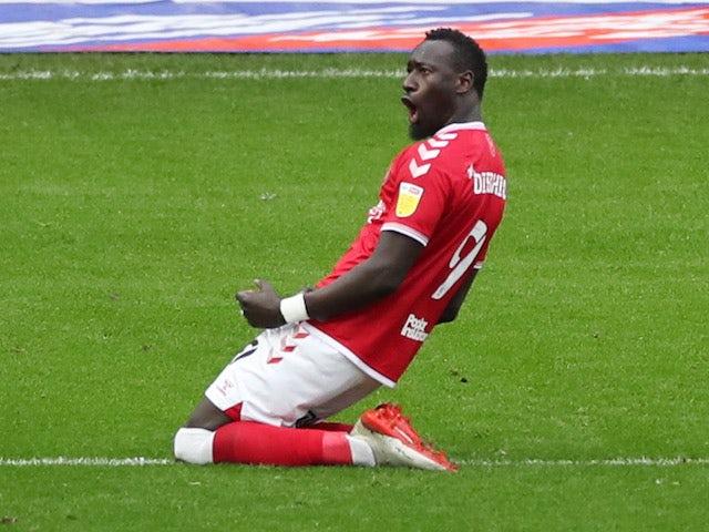 Bristol City's Famara Diedhiou celebrates scoring their first goal against Preston on January 16, 2021