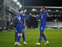 Mason Mount celebrates scoring for Chelsea against Fulham in the Premier League on January 16, 2021