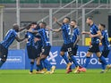 Inter Milan's Nicolo Barella celebrates scoring their second goal with teammates on January 17, 2021