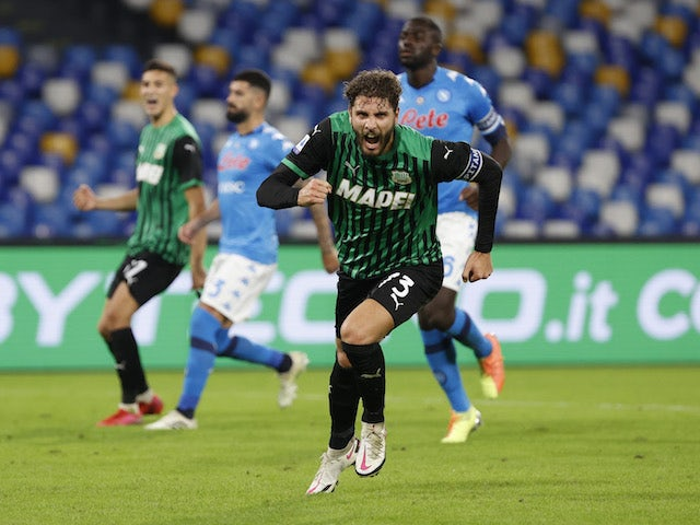 Sassuolo midfielder Manuel Locatelli pictured on November 1, 2020