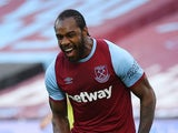 West Ham United forward Michail Antonio celebrates scoring against Burnley on January 16, 2021