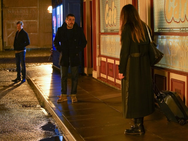 Daniel, Peter and Carla on Coronation Street on January 29, 2021