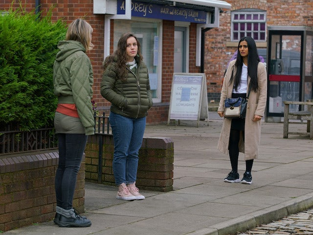 Alya and Faye on the first episode of Coronation Street on January 20, 2021