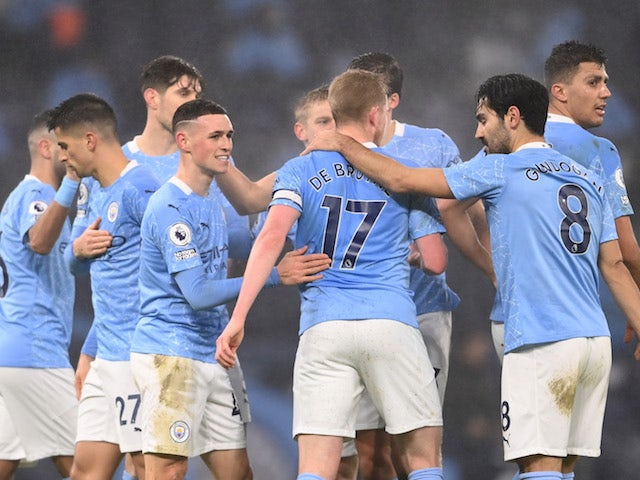 Manchester City's Phil Foden celebrates scoring against Brighton & Hove Albion in the Premier League on January 13, 2021