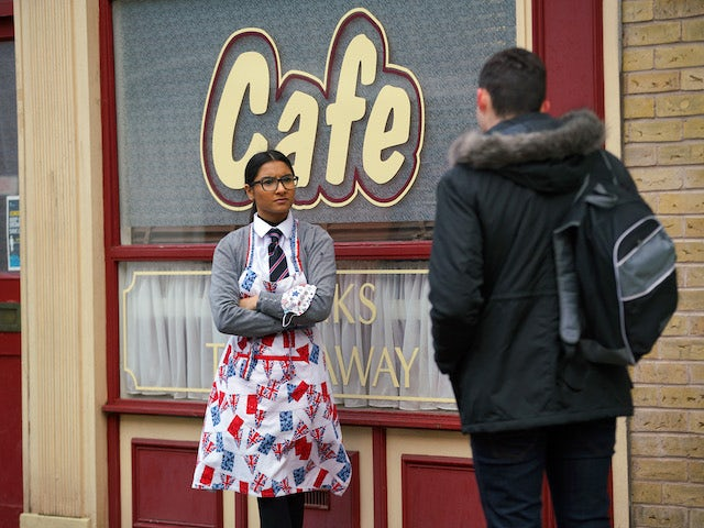 Asha and Corey on the first episode of Coronation Street on February 1, 2021