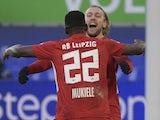 RB Leipzig's Nordi Mukiele celebrates scoring their first goal with Emil Forsberg on January 16, 2021