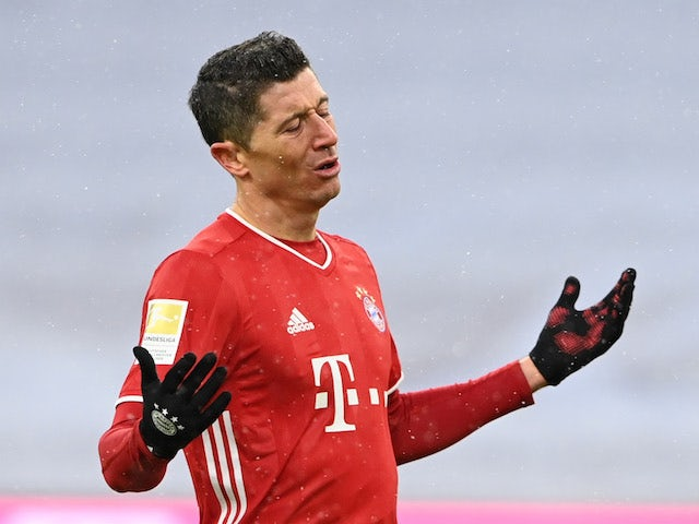 Bayern Munich's Robert Lewandowski reacts on January 17, 2021