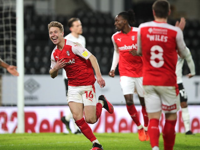 Rotherham United's Jamie Lindsay celebrates scoring their first goal against Derby on January 16, 2021
