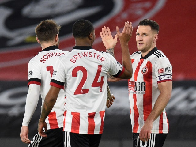 Billy Sharp celebrates scoring for Sheffield United against Newcastle United in the Premier League on January 12, 2021
