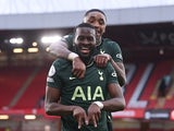 Tottenham Hotspur's Tanguy Ndombele celebrates scoring against Sheffield United in the Premier League on January 17, 2021