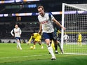 Tottenham Hotspur's Harry Kane celebrates scoring against Fulham in the Premier League on January 13, 2021