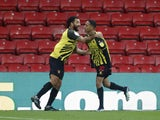 Watford's Joao Pedro celebrates scoring their second goal with Troy Deeney on January 16, 2021
