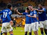Everton's Michael Keane celebrates scoring against Wolverhampton Wanderers in the Premier League on January 12, 2021