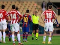 Lionel Messi is sent off for Barcelona against Athletic Bilbao in the Spanish Super Cup on January 17, 2021