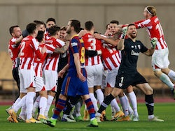 Athletic Bilbao celebrate beating Barcelona in the Spanish Super Cup final on January 17, 2021