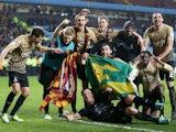 Bradford City celebrate beating Aston Villa in the EFL Cup on January 22, 2013