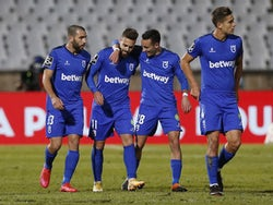 Belenenses' Miguel Cardoso celebrates scoring their first goal with Afonso Gamelas in December 2020