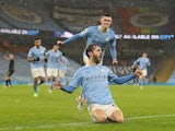 Manchester City's Bernardo Silva celebrates scoring against Aston Villa in the Premier League on January 20, 2021