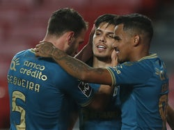 Braga's Francisco Moura celebrates scoring their second goal with teammates in November 2020