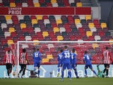 Leicester City's Youri Tielemans scores against Brentford in the FA Cup on January 24, 2021