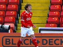 Barnsley's Callum Styles celebrates scoring their first goal on January 23, 2021