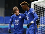 Chelsea's Tammy Abraham celebrates scoring against Luton Town in the FA Cup on January 24, 2021
