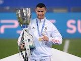 Juventus forward Cristiano Ronaldo celebrates winning the Italian Super Cup on January 20, 2021