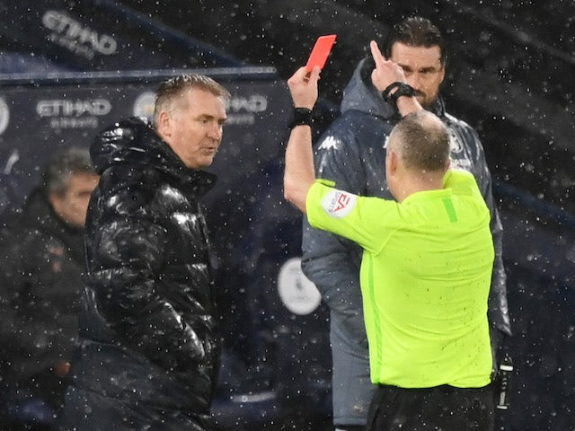 Aston Villa manager Dean Smith is shown a red card on January 20, 2021