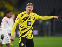 Erling Braut Haaland in action for Borussia Dortmund on January 16, 2021