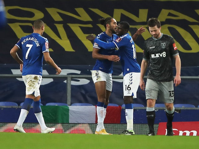 Everton's Dominic Calvert-Lewin celebrates scoring against Sheffield Wednesday in the FA Cup on January 24, 2021