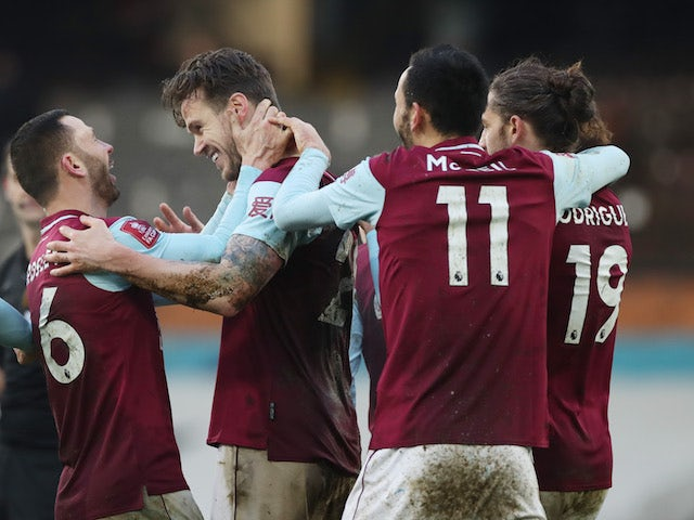 Burnley's Kevin Long celebrates scoring against Fulham in the FA Cup on January 24, 2021