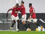 Manchester United's Paul Pogba celebrates scoring against Fulham in the Premier League on January 20, 2021