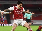 Hector Bellerin in action for Arsenal on January 14, 2021