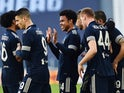 Juventus' Weston McKennie celebrates scoring their second goal with teammates on January 24, 2021