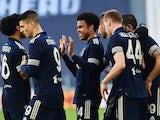 Juventus' Weston McKennie celebrates scoring their second goal with teammates on January 24, 2021