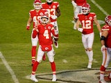 Kansas City Chiefs quarterback Chad Henne celebrates the victory against the Cleveland Browns on January 18, 2021