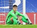 Chelsea's Kepa Arrizabalaga looks dejected after Jordan Clark scored Luton Town's first goal on January 24, 2021