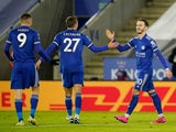 James Maddison celebrates scoring for Leicester City against Chelsea in the Premier League on January 19, 2021