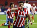 Atletico Madrid's Luis Suarez celebrates scoring against Valencia in La Liga on January 24, 2021