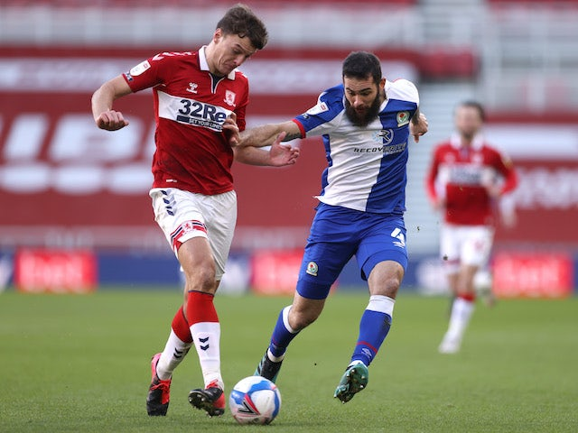 Middlesbrough's Dael Fry In action with Blackburn's Bradley Johnson in the Championship on January 24, 2021