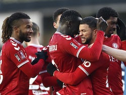 Bristol City's Nahki Wells celebrates scoring their second goal with teammates on January 23, 2021